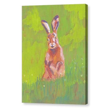 Red Rabbit in Green Grass Canvas Print Wall Art 12x16