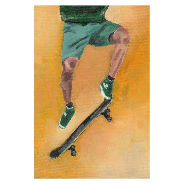 Skateboarder in Green Poster Print Wall Art