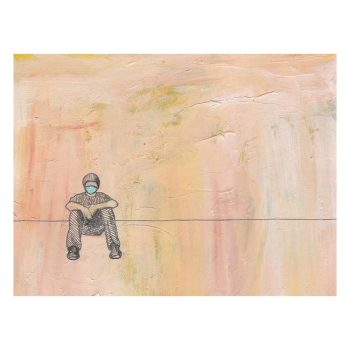 Social Distance Sitting with Mask Painting, Poster Print Wall Art