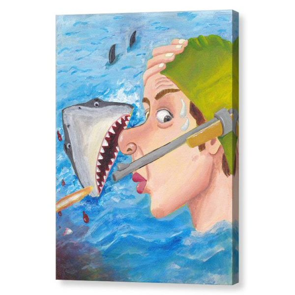 Whew Shark Shock Canvas Print Wall Art 12x16