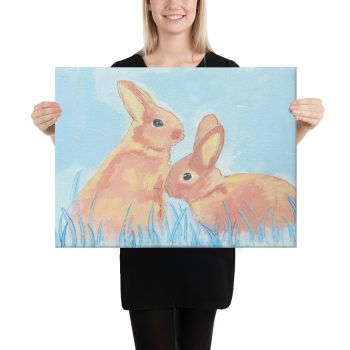 Pastel Bunnies on Blue Canvas Print Wall Art