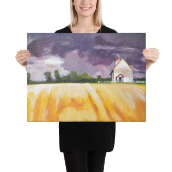 Cottage and Yellow Fields Canvas Print Wall Art