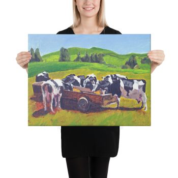 Cows Feeding in Field Canvas Print Wall Art