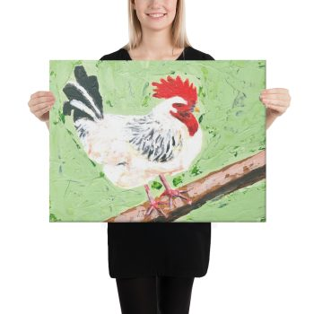 Cockerel on Green Canvas Print Wall Art