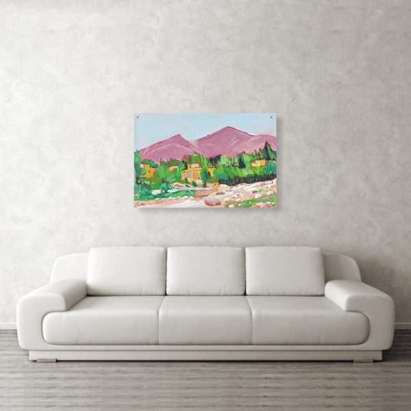 Afghan Oasis Painting 24 x 36 inches Acrylic Print Wall Art