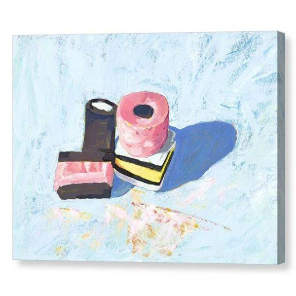 Liquorice Allsorts on Blue Canvas Print Wall Art 12x16