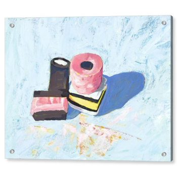 Liquorice Allsorts on Blue Background Painting 18 x 24 inches Acrylic Print Wall Art