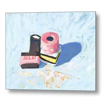 Liquorice Allsorts on Blue 18 x 24 inches Metal Print Wall Art
