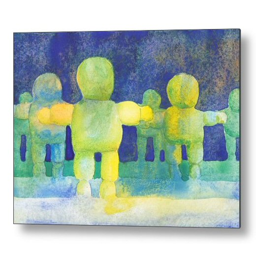 Arms Wide Watercolour 18 x 24 inches Metal Print Wall Art