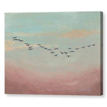Flock of Birds in Distance Canvas Print Wall Art 12x16