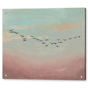 Flock of Birds in Distance 18 x 24 inches Acrylic Print Wall Art
