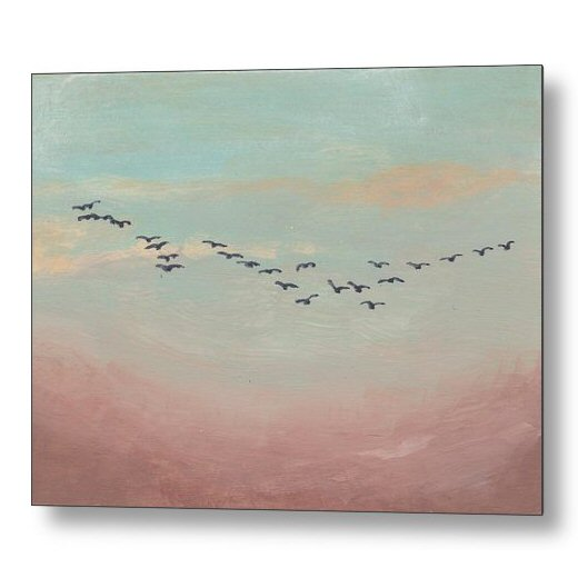 Flock of Birds in Distant Sky 18 x 24 inches Metal Print Wall Art