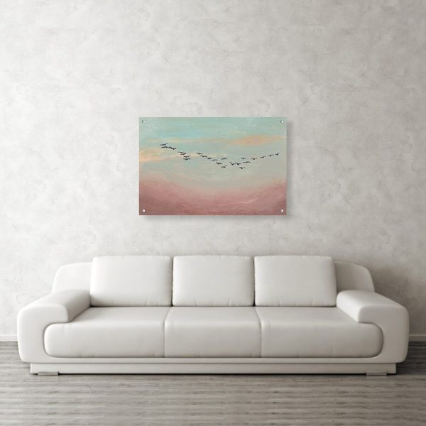 Birds Flying in Distance Painting 24 x 36 inches Acrylic Print Wall Art
