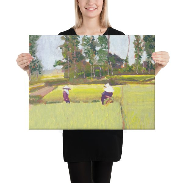 Vietnamese Paddy Workers Canvas Print for Home Decor