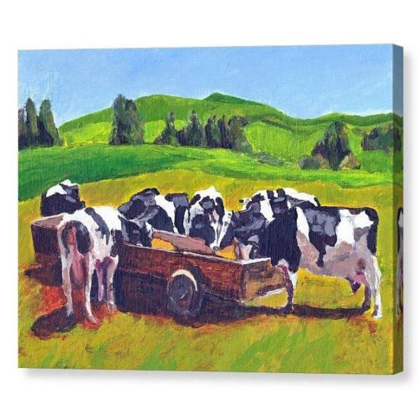 Cows Feeding in Field Canvas Print Wall Art 12x16