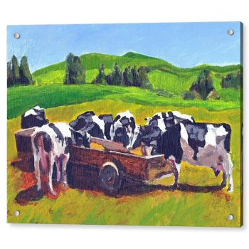 Cows Feeding in Field Painting 18 x 24 inches Acrylic Print Wall Art