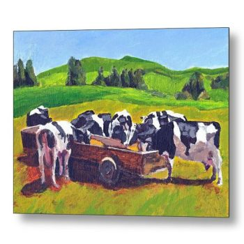 Cows Feeding in Field 18 x 24 inches Metal Print Wall Art