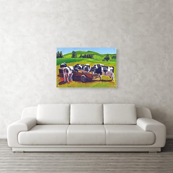 Cows Feeding Painting 24 x 36 inches Acrylic Print Wall Art