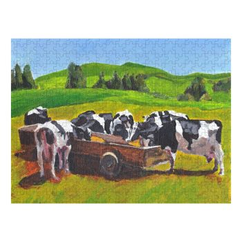 Cows in Field Jigsaw Puzzle 500