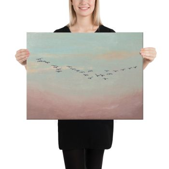 Flock of Birds in Distance Canvas Print Wall Art
