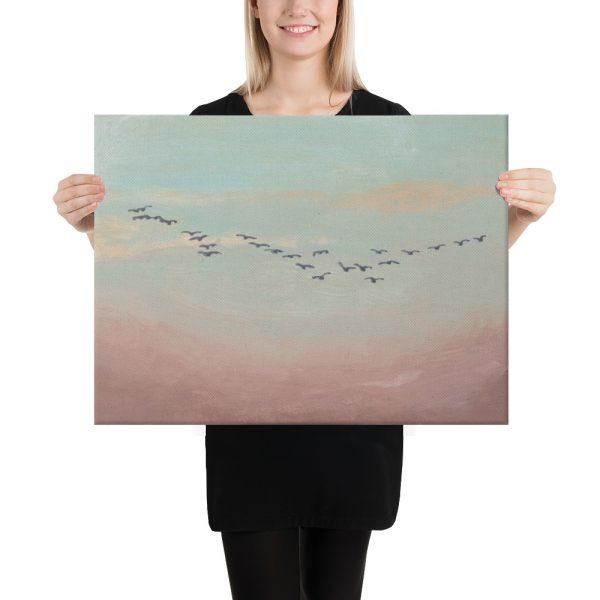 Flock of Birds in Distance Canvas Print Wall Art