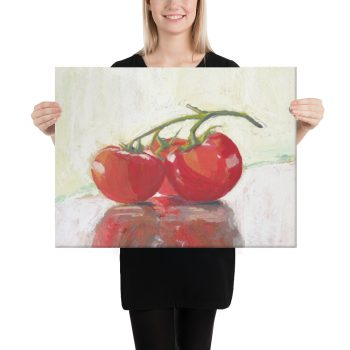 Three Tomatoes Still Life Canvas Print for Office Decor