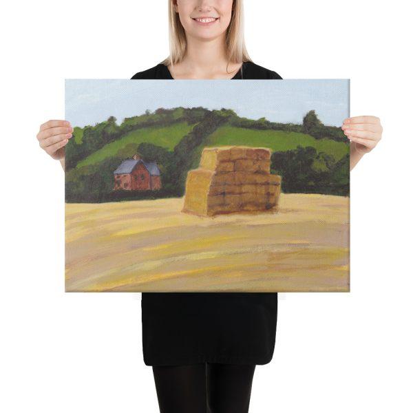 Haystack in England Landscape Canvas Print Wall Art