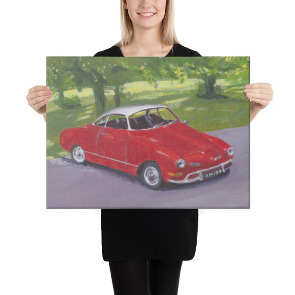 Red Classic Car in Greenwich Park Canvas Print Wall Art