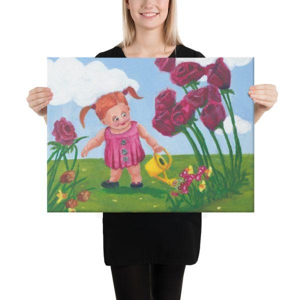 Little Girl Watering Flowers Canvas Print Wall Art