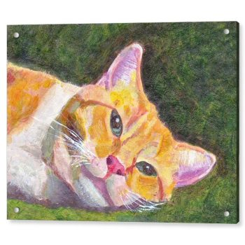 Ginger Tabby Cat Relaxing 18 x 24 inches Acrylic Print Wall Art