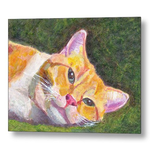 Ginger Tabby Cat Relaxes 18 x 24 inches Metal Print Wall Art