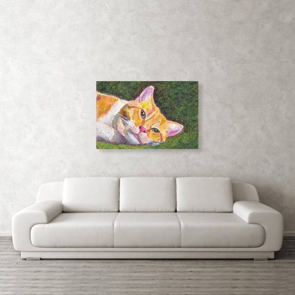 Ginger Tabby Cat Relaxing 24 x 36 inches Metal Print Wall Art