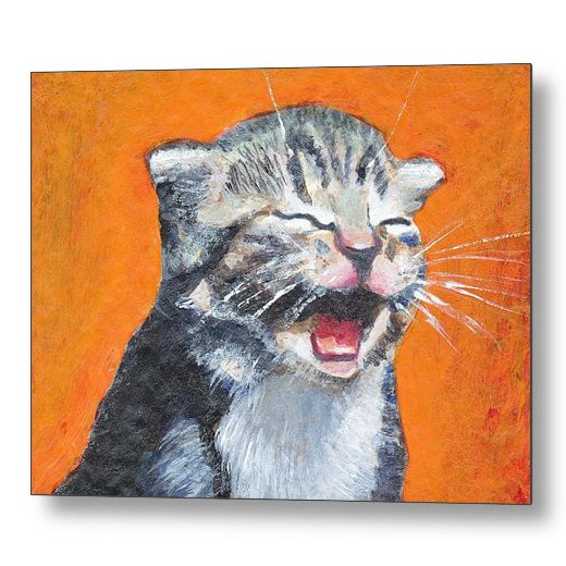 Laughing Kitten Painting 18 x 24 inches Metal Print Wall Art