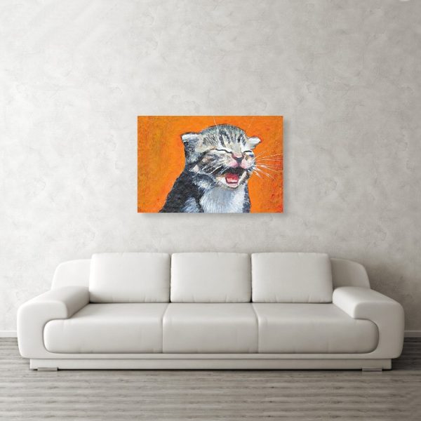 Cute Laughing Kitten 24 x 36 inches Metal Print Wall Art
