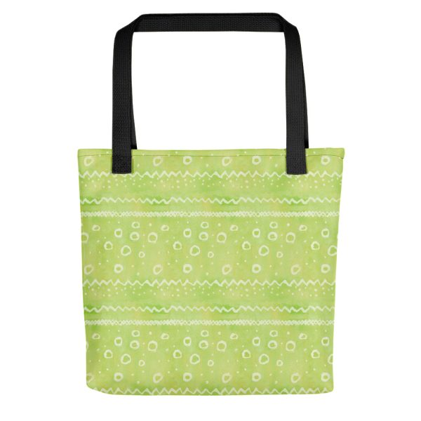 Green watercolour pattern tote bag