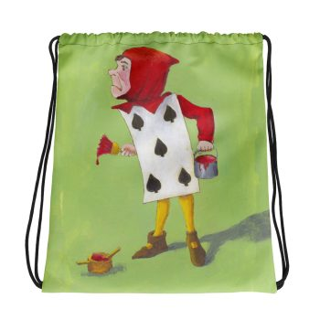 Alice in Wonderland 5 of Spades Drawstring Bag