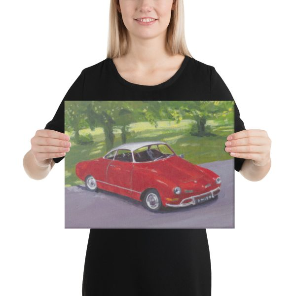 Red Classic Car in Greenwich Park Canvas Print for Home Decor