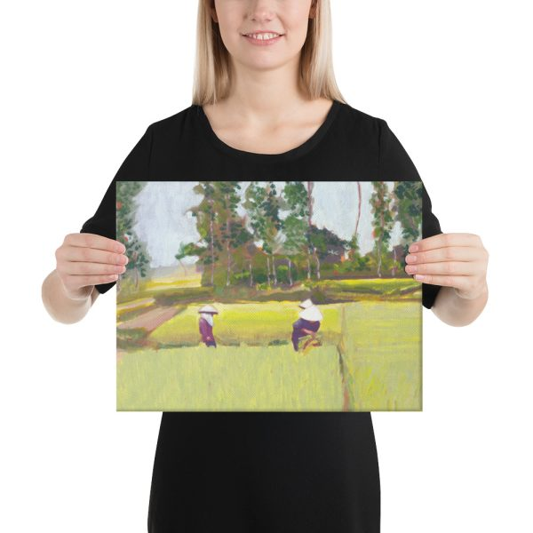 Vietnamese Paddy Workers Canvas Print Wall Art