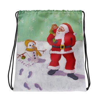 The Snowman's Xmas Present with Santa Drawstring Bag