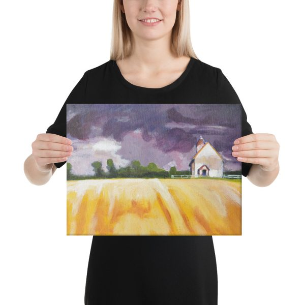 Cottage and Yellow Fields Canvas Print for Home Decor