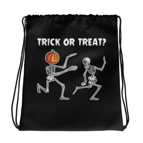 Trick or Treat Running Skeletons Halloween Drawstring Bag