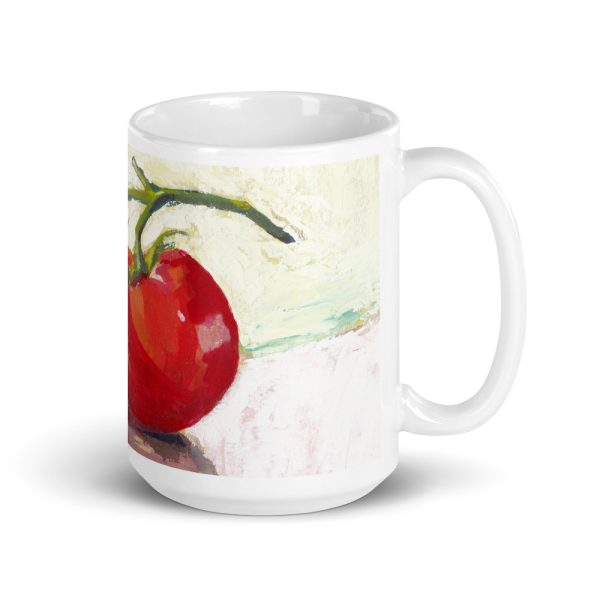 Three Tomatoes Still Life Painting 15oz Ceramic Coffee Mug