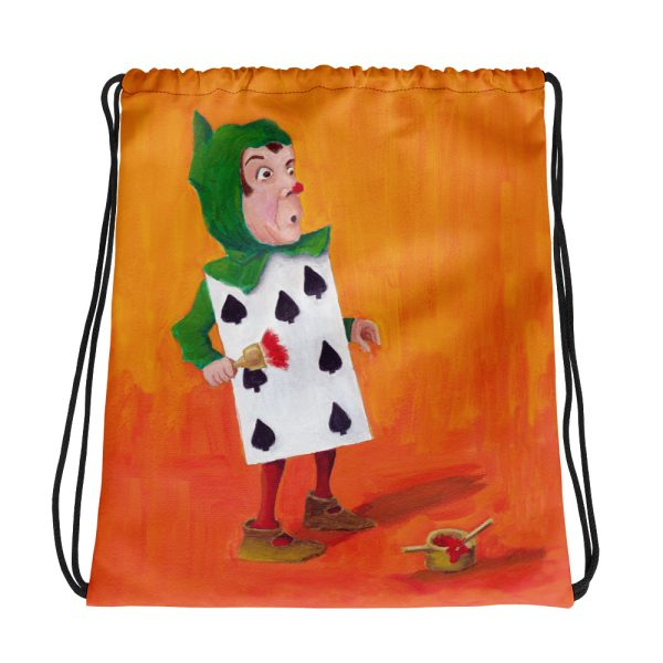 Alice in Wonderland 7 of Spades Drawstring Bag