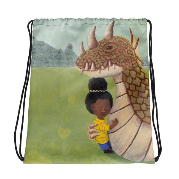 Girl and Guardian Dragon Drawstring Bag