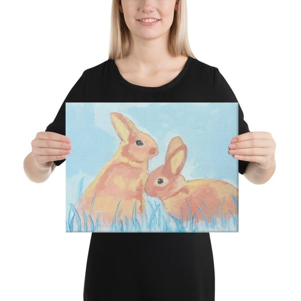 Pastel Bunnies on Blue Canvas Print for Home Decor