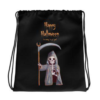 Dwarf Grim Reaper Happy Halloween Drawstring Bag