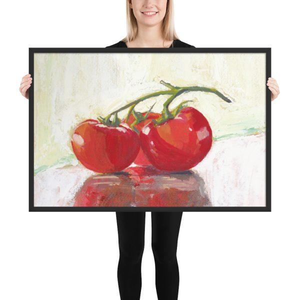 Three Tomatoes Still Life Painting Framed Print