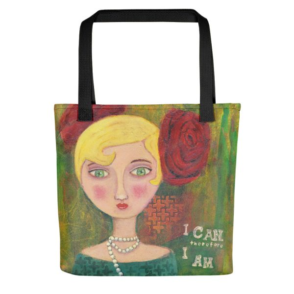 Mixed Media Lady, I Can therefore I Am, Tote Bag