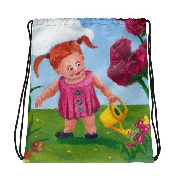 Little Girl Watering Spring Flowers Drawstring Bag