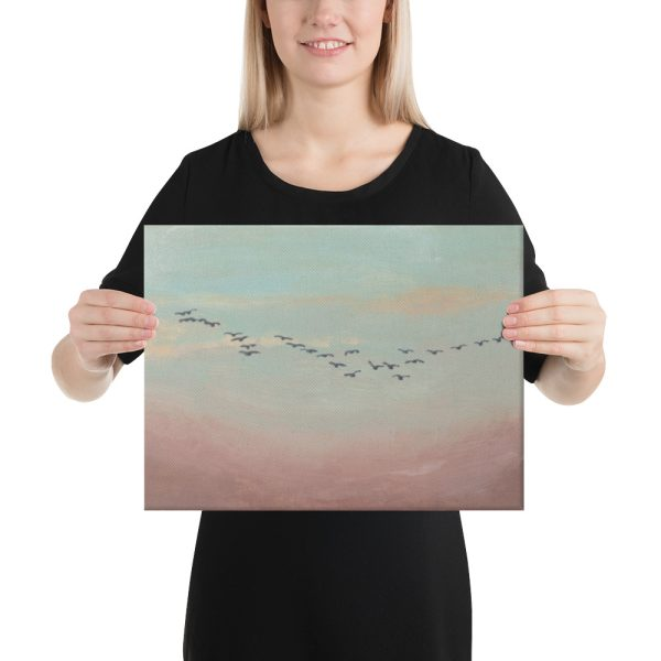 Flock of Birds in Distance Canvas Print for Home Decor